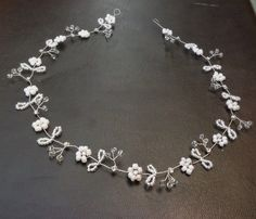 Long wedding floral hair vine Bridal Tiara halo crown
