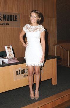 white lace dress, silver crown headband, light brown pumps