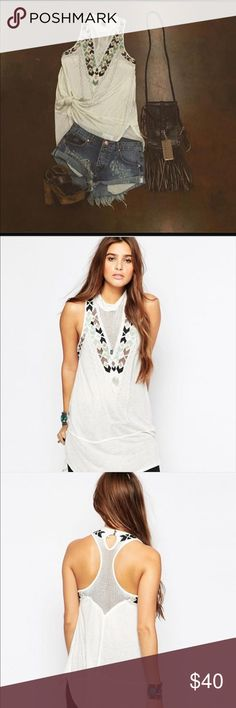 Free people Adella mock neck tank top dress s new Size small brand new could be worn as a short dress with a slip underneath super cute new without tags Free People Tops Tank Tops