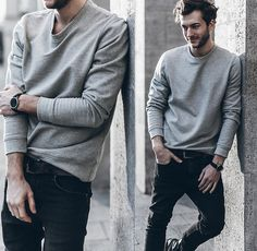 Trendy Casual Outfits For Men Casual Sporty Outfits, Style Casual, Sporty Style, Men Casual, Style Men, Grey Sweater Outfit, Sweater Outfits, Men Sweater, Grey Outfit