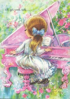 Vintage Greeting Card girl playing pink piano ~ (I think I received this card as a little girl ~ ALW)