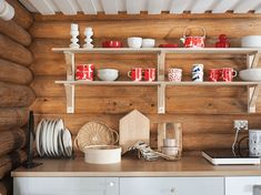 Cabin Dollhouse, Log Cabin Kitchens, Scandinavian Cabin, House In The Woods, Ikea, Cottage, Koti, Countryside, Inspiration