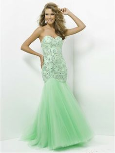 Trumpet/Mermaid Strapless Sleeveless Tulle Prom Dresses With Beaded #VenusJ023 - Prom Dresses