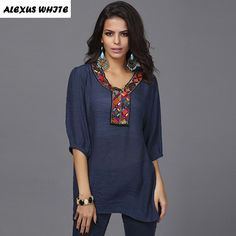 Cheap blouse collar, Buy Quality blouses summer directly from China blouse patterns Suppliers: Slub Cotton Long Blouses Summer Women's 2017 Beads Embroidery Shirts Lady Fashion V-Neck Short-Sleeved Blouse Tops