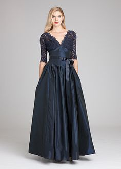 Lace & Taffeta V-Neck Gown