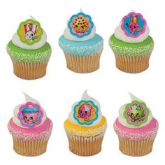 Let's Shop Let's Celebrate 24 Assorted Shopkins Cupcake Rings Perfect Cupcake Toppers or Favors