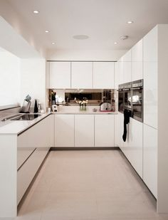 Kitchen and small white form high gloss cream paint dining