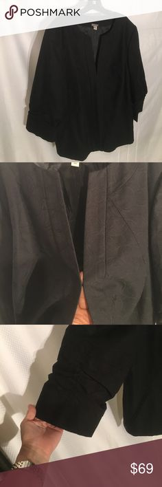 Black 3/4 sleeve blazer fully lined NWOT Black on black circle swirl print jacket with one single hook and eye closure at breast line. Sleeves are 3/4 with rushing detail that gives interesting detail. Really beautiful fitted style and NWOT anthracite Jackets & Coats Blazers