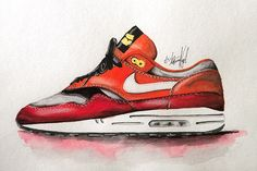 Sneaker Watercolour Paintings By ACHILDCOLOUR