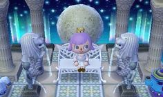 Happy with how my lunar palace throne room turned out *:・゚ ☾✧ the cupid bench will have to do until i get proper thrones Moon Palace, Animal Crossing 3ds, Ac New Leaf, Happy Home Designer, Throne Room, Cool Rooms, Room Inspiration, Poster, Coding