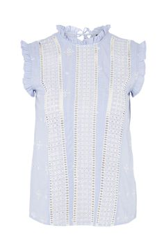 Broderie Stripe Ruffle Top - New In Fashion - New In - Topshop Europe Light Blue Top, Frill Tops, Petite Tops, Topshop Tops, Flutter Sleeve Top, Ruffle Top, Ruffle Sleeve, All Fashion, Blue Tops