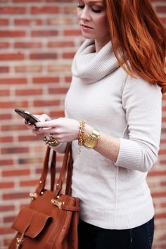Cream Sweater, camel colored bag, red hair, fall outfits, Fall 2014, red hair