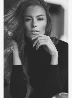 Alexa Shashkova - Option Model and Media Classic fashion close-up headshot black and white relaxed expression manicured nails turtle neck natural makeup long hair