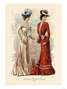 Attractive Afternoon Gowns Giclee on canvas Victorian Era Fashion, 1900s Fashion, Victorian Women, Vintage Fashion, Edwardian Era, Edwardian Clothing, Victorian Life, Victorian Steampunk, French Fashion