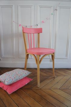 furniture, Cute Pink Accent On Simpel Wood Chair And Small Pillow On Wide Brown Parquet Beside Great Pure White Wall For Painted Furniture Ideas - Painted Furniture Ideas for DIY Furniture Painting Refurbished Furniture, Upcycled Furniture, Home Furniture, Furniture Design, Furniture Ideas, Colorful Chairs, Colorful Furniture, Kids Painted Furniture, Chair Makeover