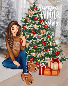 Merry Christmas Baby, Christmas Text, Diy Christmas Cards, Christmas Books, Fashion Illustration Hair, Illustration Art, Pastel Sunset, Cute Christmas Wallpaper, Christmas Paintings On Canvas