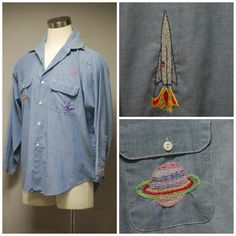 1970's Out Of This World Chambray Shirt  Space by TheOtherGhost