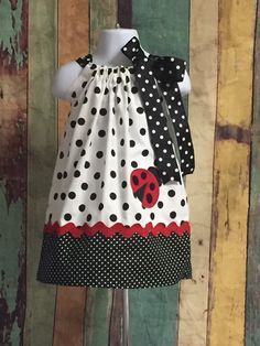 Ladybug Dress-Ladybug Pillowcase Dress-Girls Ladybug Dress-Toddler Ladybug Dress-Infant Pillowcase Dress-Infant Ladybug Dress-Summer Dress Ladybug Dress-Ladybug Pillowcase by CuteCoutureByShelley on Etsy Toddler Dress, Toddler Outfits, Baby Dress, Kids Outfits, Dress Girl, Little Girl Dresses, Girls Dresses, Pillowcase Dress Pattern, Pillowcase Dresses