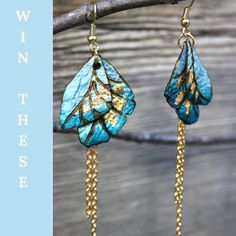 #Giveaway Silk Earrings Mother's Day handcrafted from natural silk fibre and a heat etching process developed by designer @MorijaReeb Lightweight butterfly wings with gold foil accents and double chain hang from brass coated ear wires creating movement when worn.