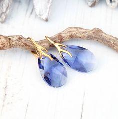 24k Gold Plated Swarovski Earring-Teardrop Earring-Swarovski Crystal Jewellery-Tanzanite Purple Violet -Bridesmaids Dangle Drop Earrings