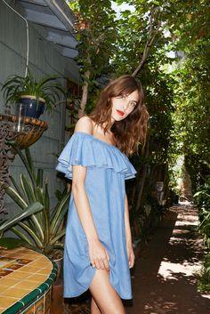 Alexa Chung for AG Jeans / off shoulder, ruffled mini dress.
