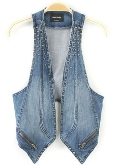 Take part in layered look by using Women Vests. Put on a mend vest over the button-down jacket or unite a relatively easy to fix shirt along with tops in plenty of different colors. Denim Waistcoat, Denim Vests, Denim Coat, Vest Outfits, Denim Outfit, Cut Shirt Designs, Denim Fashion, Fashion Outfits, Womens Fashion