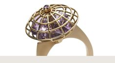 Victoria Tryon's Amazon Rose Gold & Amethyst Ring – Beautiful design with movement as the rose gold cage spins with loose amethyst briolettes inside…a piece I would play with all day…and all sales proceeds are directed to Ecuador's indigenous communities…beautiful piece, beautiful message.