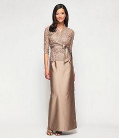 Alex Evenings 2-Piece Lace-Bodice  Dress