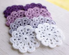 Set of 8 crochet flower appliques - White, Lavender, Lilac, Purple Birthday Party decoration Wedding Embellishment, via Etsy.
