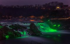 The Rhine Falls, in Neuhausen near Zurich – the largest waterfall in Europe – illuminated in green as part of Tourism Ireland's Global Greening Go Green, Go Irish, Images Of Ireland, Largest Waterfall, Shades Of Green, St Patrick, Northern Lights, This Is Us, Around The Worlds