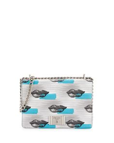 c16186cb3104 Prada Vitello Daino Lips Shoulder Bag, White/Blue (Bianco+Azzuro)