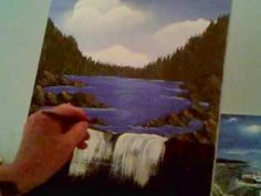 How to paint a waterfall and rock wall Acrylic Painting Lesson 9 - YouTube