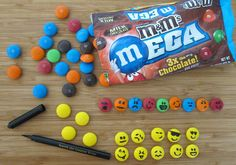 Draw Emoticons on Mega M&M's with food coloring marker & use as accent decoration on bake sale treats
