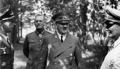 July A confident looking Hitler with Luftwaffe Chief Hermann Göring (right) and a decorated fighter pilot. Behind Hitler is his chief military aide Wilhelm Keitel, now a Field Marshal. Below: General Heinz Guderian in Russia, full of confidence as well. Wilhelm Keitel, Barack Obama, Nuremberg Trials, Germany Ww2, The Third Reich, Fighter Pilot, German Army, Luftwaffe, Germany