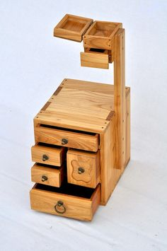 Japanese Tansu Furniture Haribako Sewing by LittleBearWoodworks