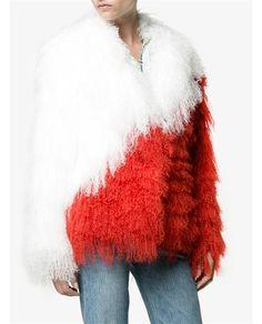 SAKS POTTS   White and Red 'Heart' Mongolian Lamb Fur Jacket