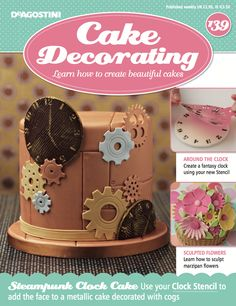 In this weeks issue of #CakeDecorating, we show you how to create a #Fantasy #Clock using your brand new, #FREE stencil. We also show you how to sculpt #Marzipan #Flowers.