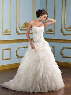 Graceful A-line Organza Ruffles With Sash Court Train Wedding Dress