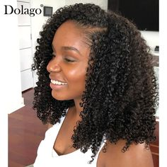 Dolago Hair Wigs For Black Women 3B 3C Kinky Curly U Part Human Hair Wigs For Black Women 150% None Lace Wigs #curlywigs #upartwigs #humanhairwigs #lacefrontwigs #wigsforblackwomen Short Human Hair Wigs, Kinky Curly Wigs, Short Bob Wigs, Cheap Human Hair, Curly Weave Hairstyles, African Braids Hairstyles, Curly Hair Styles, U Part Wig, Wigs For Black Women