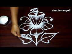 latest simple flower rangoli designs with dots for beginners || easy kolam designs for diwali - YouTube