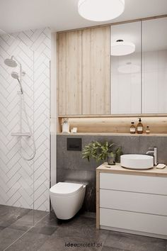 Walk in, kolor drewna, podswietlenie i polka na kosmetyki Diy Bathroom Decor, Bathroom Renos, Modern Bathroom Design, Bathroom Interior Design, Bathroom Renovations, Small Bathroom, Bathroom Storage, Bathroom Cabinets, Bathroom Ideas