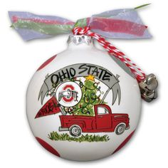 Ohio State Buckeyes Truck Painted Ball Ornament, OSU Team Deck your halls with this lovely South Carolina Gamecocks Truck Painted Ball ornament! Ohio State Football, Ohio State University, Ohio State Buckeyes, American Football, College Football, Oklahoma Sooners, Buckeyes Football, Buckeye Crafts, Football Crafts