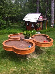 DIY Pedestal sandbox with cover built around tree stump