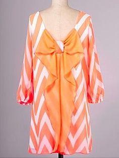 Neon Orange Bow Chevron Dress - $46.99 : FashionCupcake, Designer Clothing, Accessories, and Gifts