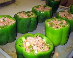 The Virtuous Wife: Stuffed Bell Peppers (FREEZER MEAL). Could probably cook in crock pot from frozen rather than pulling them out the night before to thaw.