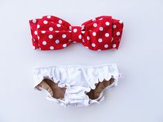 Vintage Bow Bandeau Sunsuit Cotton Bikini .DiVa Halter Neck. Red White Polka Dot  top White Panties. Sexy cute Pin up Style ALL COTTON via Etsy