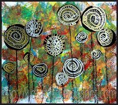 Lollipop trees, in the style of Hundertwasser