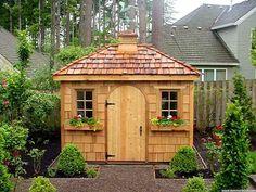 Charming cedar shake garden shed