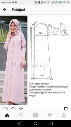 Dikiş Abaya Pattern, Kimono Pattern, Abaya Mode, Mode Hijab, How To Make Clothes, Diy Clothes, Clothing Patterns, Dress Patterns, Arabic Dress
