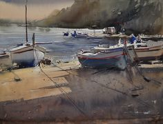 Eugen Chisnicean - Spanish Boats I- Watercolor